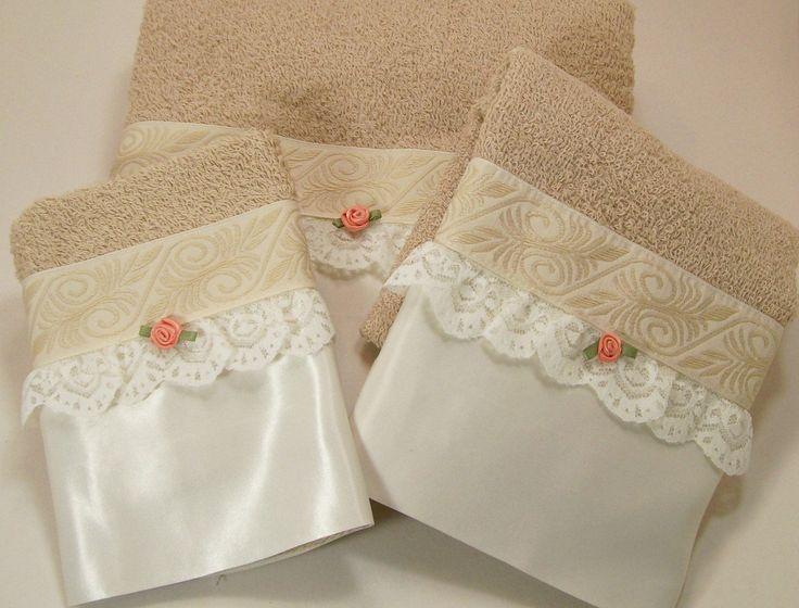 Beige Guest Bathroom Towels Hostess Coffee White by dalesdreamsII