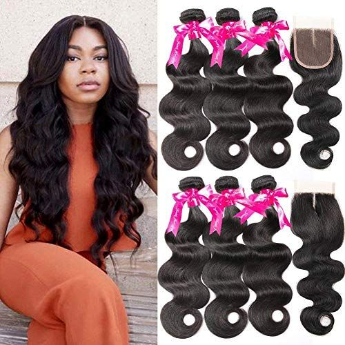 Buy Beauty Princess Body Wave Human Hair 3 Bundles Closure Double Weft 8A Brazilian Hair Bundles With Closure (24 26 28+20Inch) online