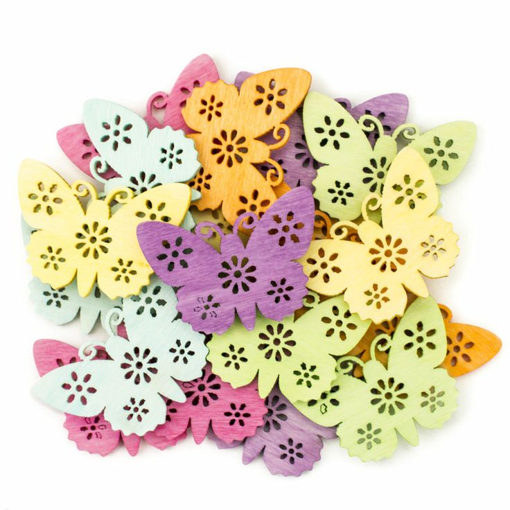 Hobbycraft Wooden Butterfly Embellishments 18 Pieces 4 Cm | Hobbycraft #easterdecoration #eastercraft #butterfly
