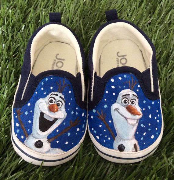 """""""**sales item: regular $41US now $29!**  This listing is for a pair of hand painted Olaf baby shoes size 4. These shoes are finished and ready to ship! """" So cute"""
