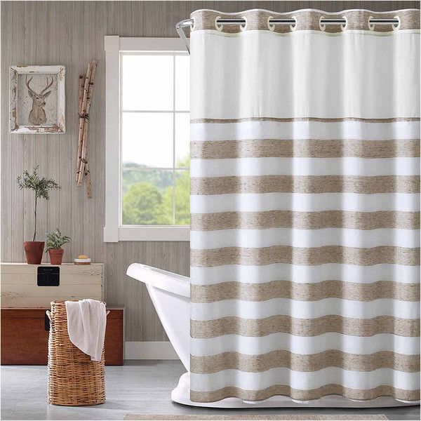 Hookless Yarndye Stripe Linen Shower Curtain 40 Liked On Polyvore Featuring Home