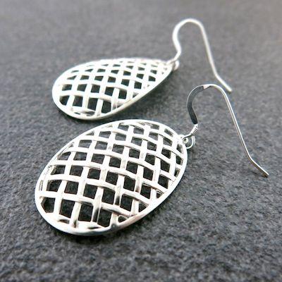 Weave Large Egg Hollow Earrings in Sterling Silver.