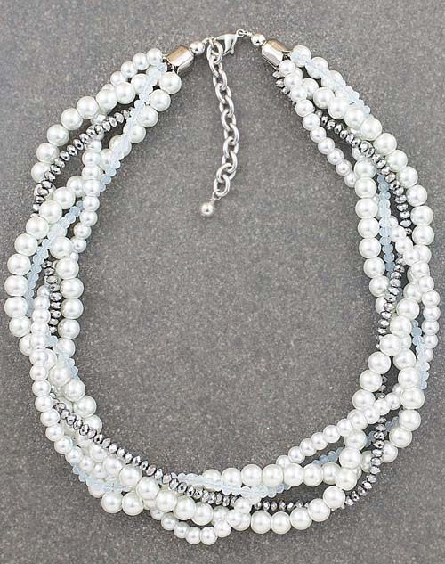 Classic White Pearl Statement Necklace from EarringsNation Twisted Statement Necklace Multistrand necklace White Wedding Braided pearl necklace Classic Weddings