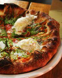 fried squash blossom pizza with fresh ricotta