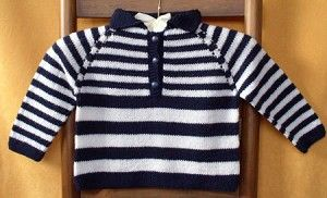 Cabin Fever 610 Top Down French Stripes. Uses Double Knitting #3 weight yarn. Sizes 1 year to 6 years.