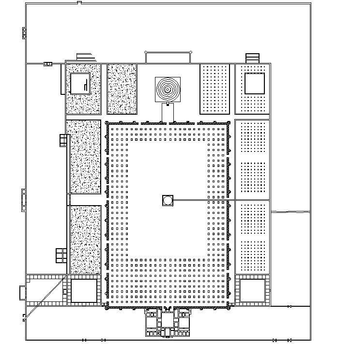 Gran Mezquita de Samarra (Irak, siglo IX). En el plano se aprecia la doble muralla o zidaya para aislar la mezquita del ruido exterior. También cómo el alminar estaba integrado en el conjunto y unido a la mezquita por un puente.