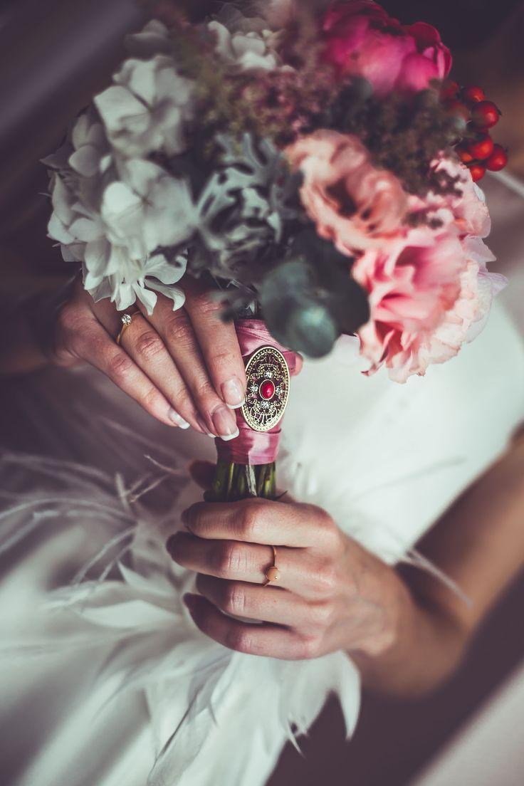 rowan bridal wedding bouquet coral