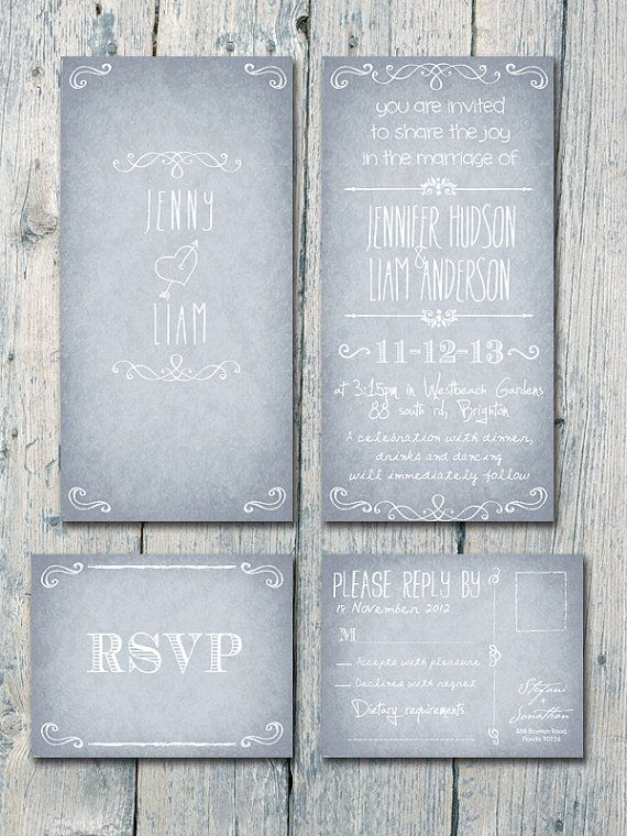 Set of 100 - Vintage Grey Calligraphy Wedding Invitation and Reply Card Set - Wedding Stationery - ID163
