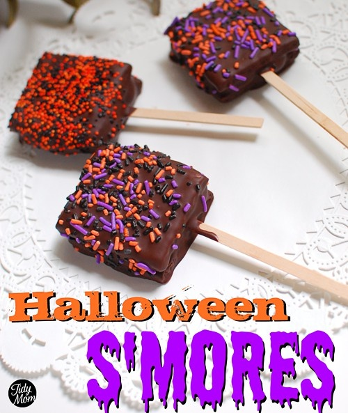 Halloween smores on a stick, fun for a classroom party treat