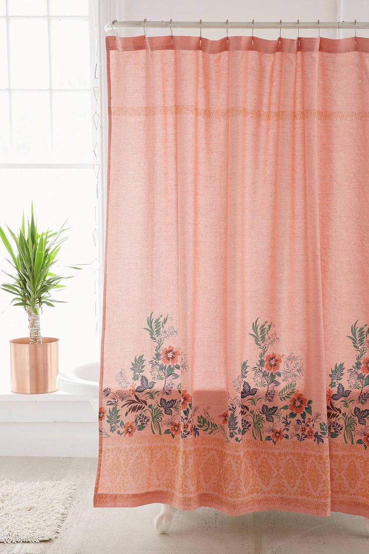 Slide View: 1: Beachy Floral Shower Curtain