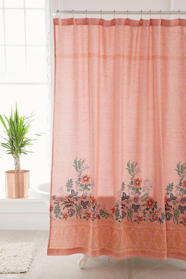 Beachy floral shower curtain