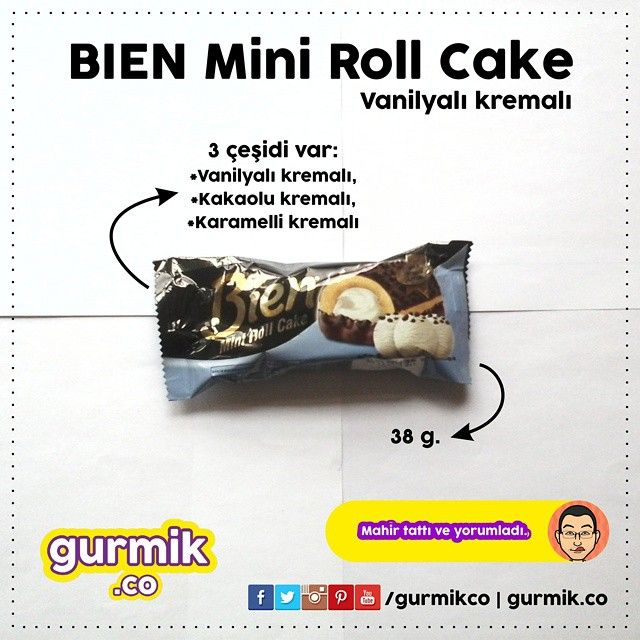 Şimşek'ten mini rulo pasta: Bien #MiniRollCake Vanilyalı. Üstü kakaolu dese de kakaoyu göremedim. Bu da Vasat. #bien