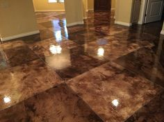 Acid Stain, Tile Pattern Concrete Floors Owens Concrete Staining Oklahoma City, OK