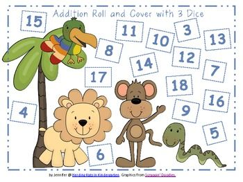 $1.50 Zoo or Jungle Animal Roll & Cover Addition & Subtraction Games!
