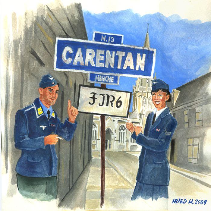 """Out on the town"" Carentan late May 1944, Luftwaffe personnel, Fallschirmjäger &. Helferin"
