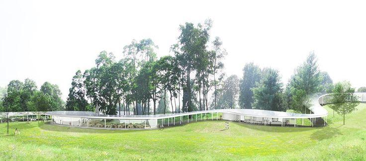 Grace Farms en New Canaan en Connecticut. El último trabajo de los galardonados por el Pritzker, los arquitectos japoneses de SANAA, es su primer proyecto en Estados Unidos desde que ganaron el premio en el año 2010. Este salón hermosamente comunal, refleja la búsqueda incesante de SANAA para hacer edificios tan finos y ligeros como sea posible, con el techo apoyado en columnas delgadas y una serie de pabellones de paredes de vidrio que anidan bajo el dosel.
