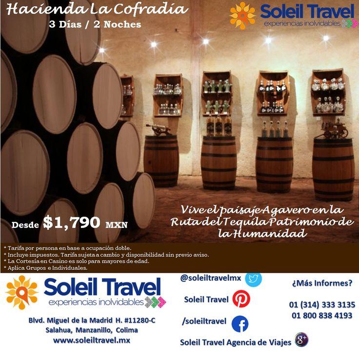 """HACIENDA LA COFRADÍA Desde $1,790 MXN por adulto Incluye: 2 noches de Hospedaje en Guadalajara / Desayunos buffet / Tour a tequila en camioneta / Coctel de Bienvenida / Visita Fabrica de Tequila / Guía certificado Bilingue / Visita fabrica de Cerámica / Explicación del proceso de elaboración de Tequila / Entrada al museo en Sitio / Degustación de tequila / Alimentos en la taberna del cofrade """"Restaurante Subterráneo"""" / 2 Bebidas a base de Tequila / Cortesía a 1000 Créditos NR Casino"""