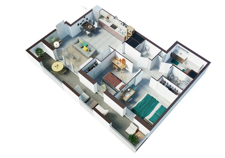architecture vue a rienne en coupe 3d vue a rienne. Black Bedroom Furniture Sets. Home Design Ideas