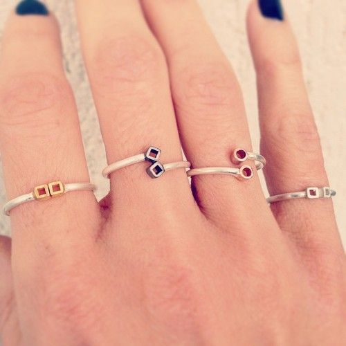 Adjustable sterling #silver #rings with gold-plated or black platinum details