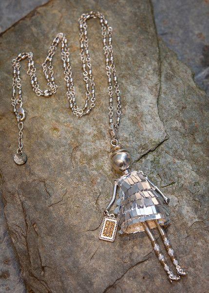 Moon C - Long necklace silver doll pendant charleston dress