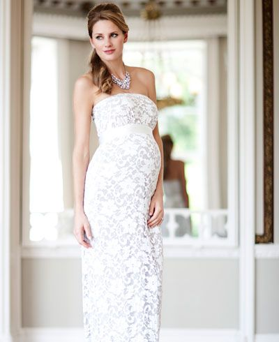 Oyster Lace Maternity Gown Long (Ivory) - Maternity Wedding Dresses, Evening Wear and Party Clothes by Tiffany Rose
