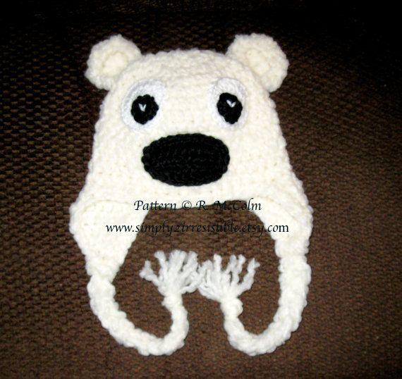 Bear (Polar) Hat Pattern - Crochet Pattern Number 12 - Beanie and Earflap Pattern - Newborn to Adult - CROCHET HAT PATTERN. $2.99, via Etsy.