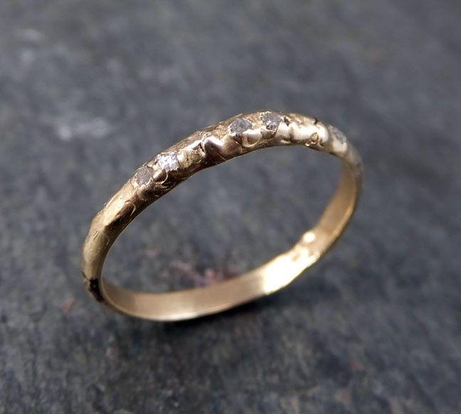 Raw Rough Uncut Diamond Wedding Band 14 k Gold Wedding Ring by Angeline