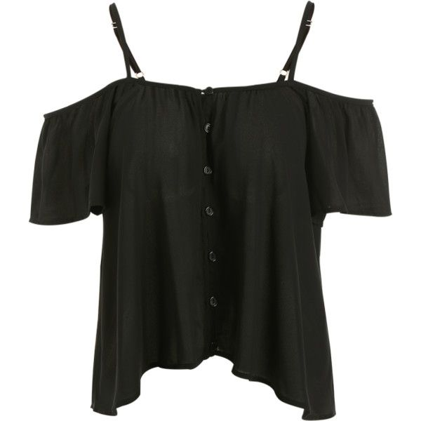 Button Up Cold Shoulder Top Black (450 UAH) ❤ liked on Polyvore featuring tops, button down top, cut out shoulder top, button up top, cut-out shoulder tops and open shoulder top