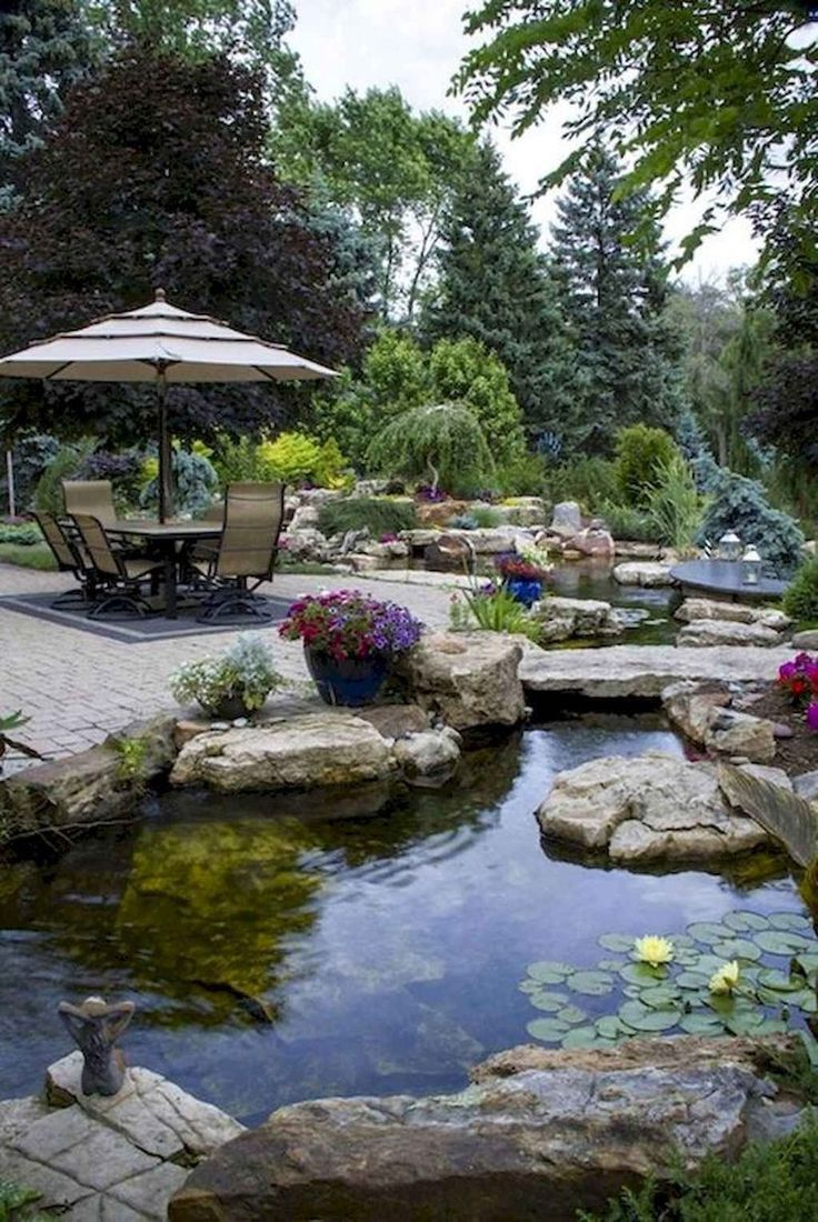 53 Relaxing Small Front Garden Design Ideas With Waterfall ... on Front Yard Waterfall Ideas id=44784