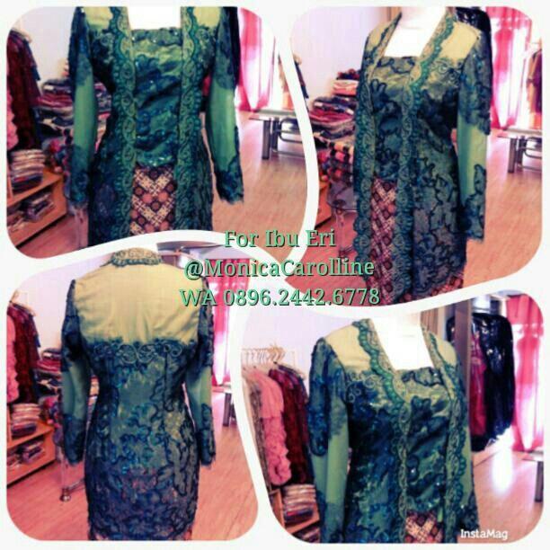 Green Kebaya with furring for Ibu Eri - Onic Boutique - Designed By Monica Carolline - Untuk Pemesanan SMS: 081320558835 Whatsapp: 086924426778  Pin BB: 2B23814D / 29D5461F