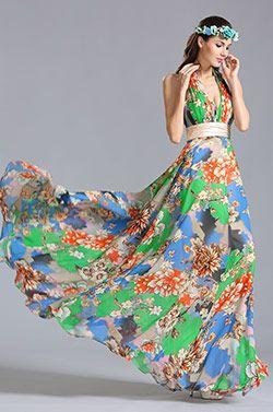 Halfter Blumenkleid Sommer Bedrucktes Kleid (00155304) #Abendkleid #Ballkleid #eDressit #Mode
