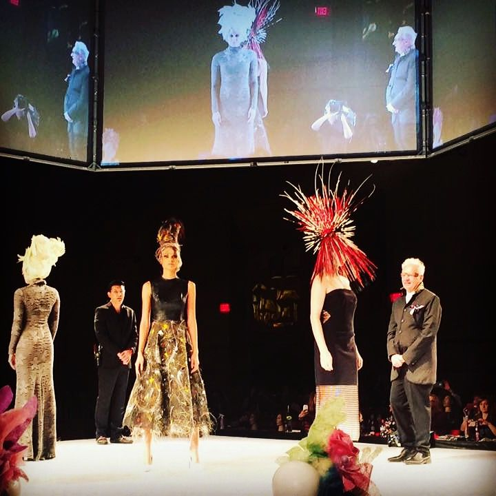 Berlin avant-garde hair show, model wearing Ina Visich horse hair dress