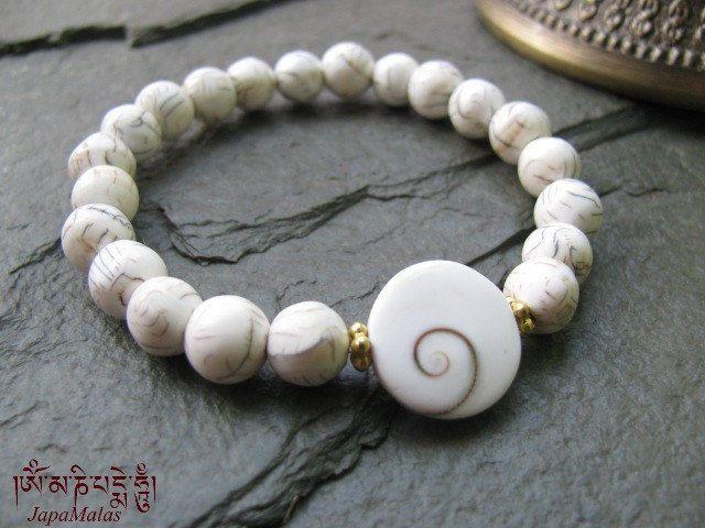 Naga shell Bracelet Mala beads with Chakra conch shiva eye bead purified & blessed mala. - product images  of