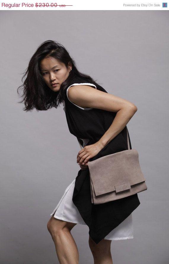 Grey Shoulder bag  leather bag Nico bag by LadyBirdesign on Etsy, $195.50