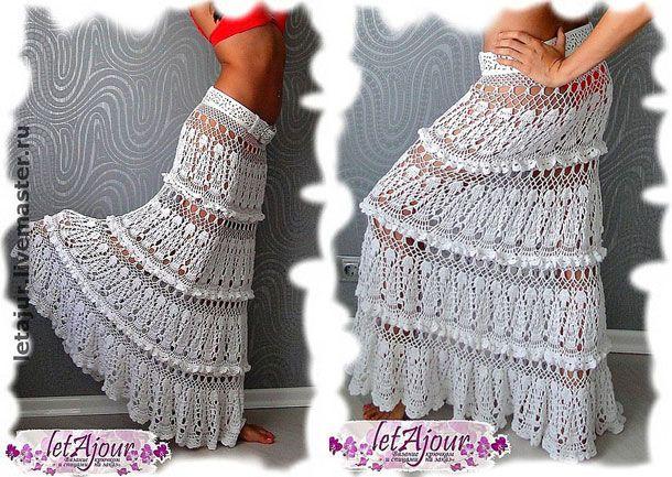 Шикарная длинная юбка ярусами крючком 'Каскады белоснежных облаков'