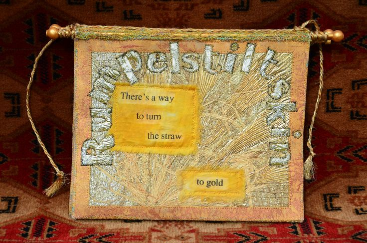 Rumpelstiltskin Book by Debby Anya Spiby. Embroidered book, hand and machine stitched with mixed media and found items, on painted pelmet vilene.