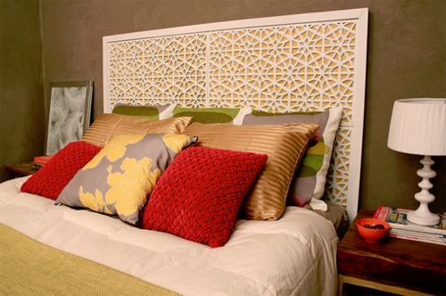 Dollar Store rubber mats, paint and plywood equal an amazing headboard!!