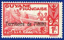 Inini 25 Stamp - Stamp of French Guinea Overprinted - SA IN 25-1 MNH