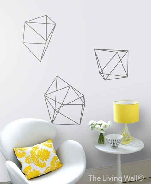 Geometric Diamonds Wall Decals, Geometric Shapes Home Decor Removable Wall…