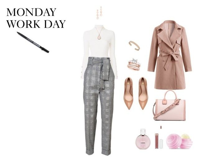 """""""MONDAY WORK OUTFIT 11/24/17"""" by rebeccadavisblogger ❤ liked on Polyvore featuring See by Chloé, Rebecca Minkoff, Chanel and Eos"""