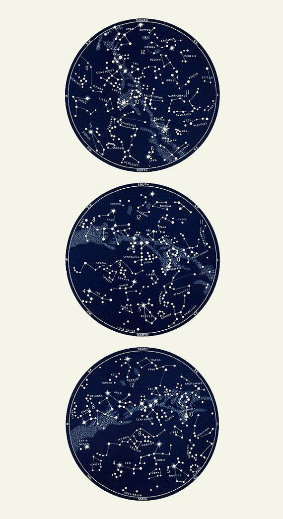 Vertical Circular Constellation Map Trio by DaylightDreams on Etsy, $90.00