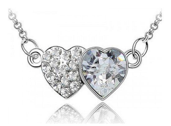 Κολιέ με Διπλή Καρδιά με Κρύσταλλα Swarovski - http://www.memoirs.gr/