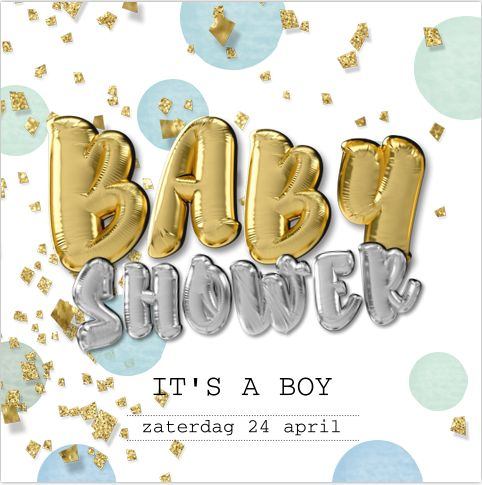 Eerdaags een babyshower feest organiseren? Feestelijke enkele uitnodiging met goud look confetti in groen / blauwe tinten! Hippe folie ballonnen in goud en zilver kleur. Met een baby voorspelling die je kan invullen! Geheel zelf aan te passen. Gratis verzending in Nederland en België.