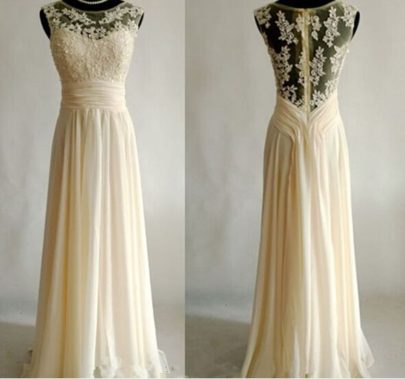 Charming New Style Chiffon Floor Length Creamy Prom Dress2015 with Applique, Prom Dress 2015, Long Prom Dresses, Formal Dresses