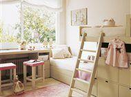 Dormitorio con litera tren para niñas