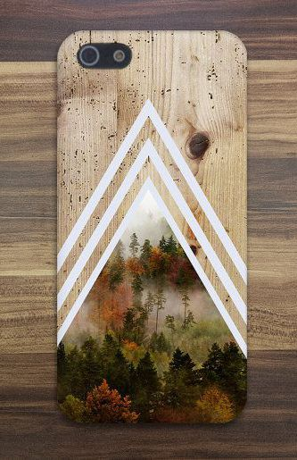 Chevron Dense Forest x Tree Bark Wood Case (I don't have an iPhone but this design is really lovely!)