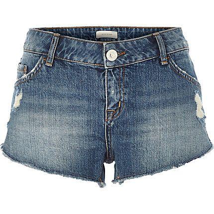 Mid wash distressed denim shorts £30.00