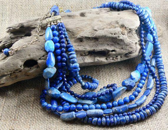 LAPIS Gemstone Statement Necklace  Denim blue by MMDJewellery