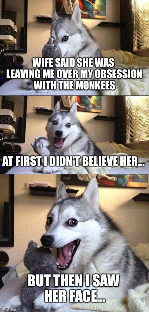 Now I'm a Believer... | WIFE SAID SHE WAS LEAVING ME OVER MY OBSESSION WITH THE MONKEES AT FIRST I DIDN'T BELIEVE HER... BUT THEN I SAW HER FACE... | image tagged in memes,bad pun dog | made w/ Imgflip meme maker