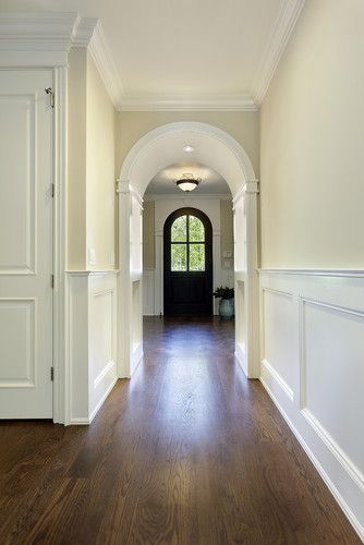Wall color is Benjamin Moore Natural Cream and Trim is Ben Moore White Dove